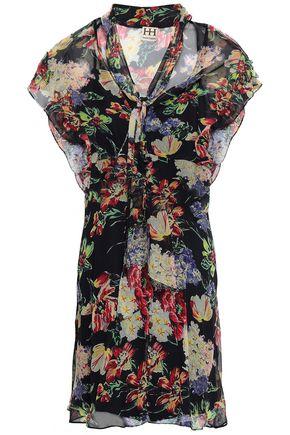 HAUTE HIPPIE Pussy-bow floral-print silk-georgette mini dress