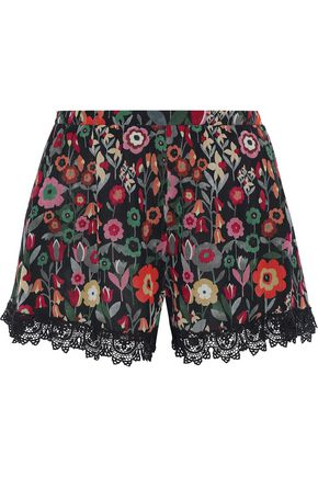 REDValentino Lace-trimmed floral-print silk-georgette shorts