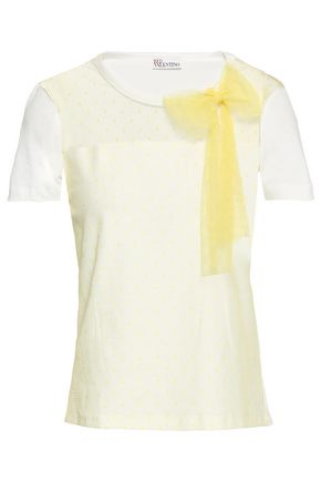 REDValentino Bow-embellished point d'esprit-paneled cotton-jersey T-shirt