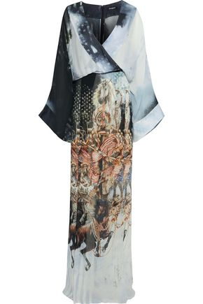 BALMAIN Wrap-effect printed silk-georgette maxi dress
