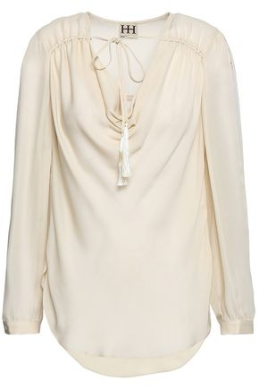 HAUTE HIPPIE Draped silk crepe de chine blouse