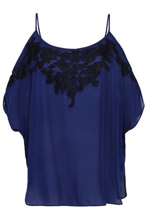 HAUTE HIPPIE Cold-shoulder lace-trimmed silk crepe de chine top