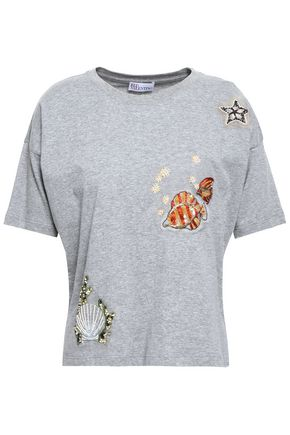 REDValentino Embellished cotton-jersey T-shirt