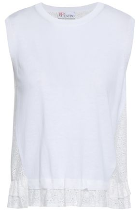 REDValentino Broderie anglaise cotton and modal-blend top