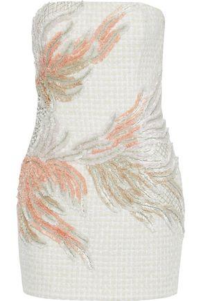 BALMAIN ストラップレス 装飾付き ツイード ミニワンピース
