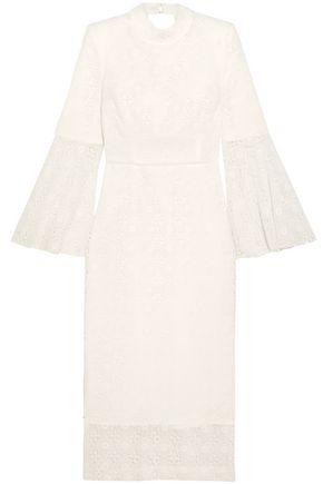 REBECCA VALLANCE Mireya open-back guipure lace midi dress