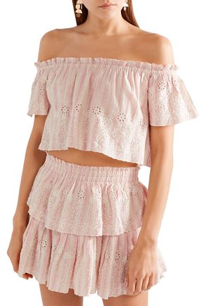 LOVESHACKFANCY Stephanie off-the-shoulder striped broderie anglaise cotton top