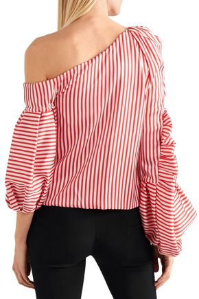 HELLESSY Hilda one-shoulder striped stretch-silk twill blouse