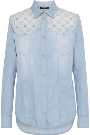 BALMAIN Embellished faded denim shirt