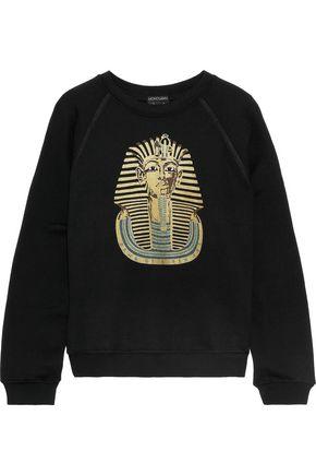 MONOGRAM STUDIO Metallic printed cotton and modal-blend fleece sweatshirt