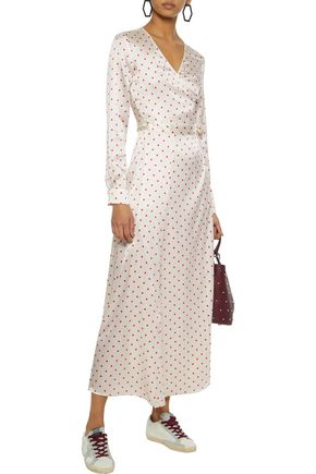 GANNI Dufort polka-dot silk-blend satin midi wrap dress