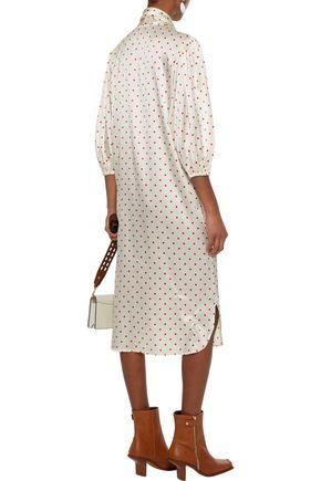 GANNI Pussy-bow polka-dot stretch-silk satin midi dress
