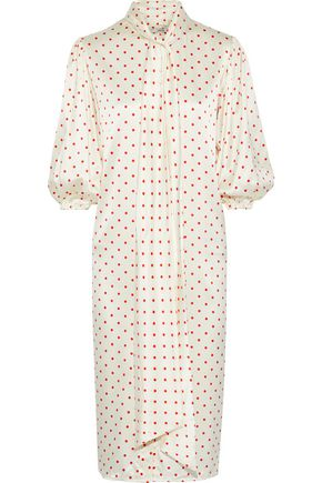 GANNI Pussy-bow polka-dot stretch-silk satin midi dress