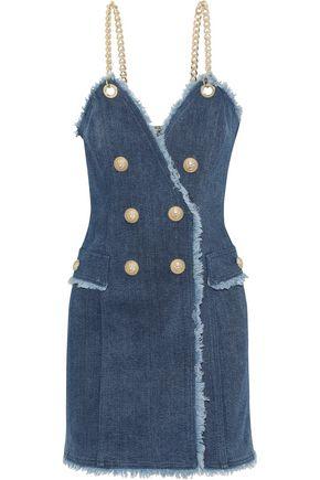 BALMAIN Button-embellished frayed denim mini dress