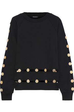 BALMAIN Button-embellished cutout French cotton-terry sweatshirt