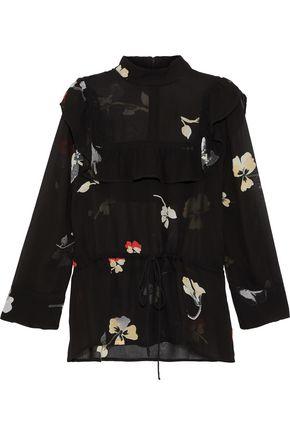 GANNI Lorita cape-effect floral-print georgette blouse