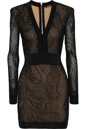 BALMAIN فستان قصير محاك بنمط بوينتيل