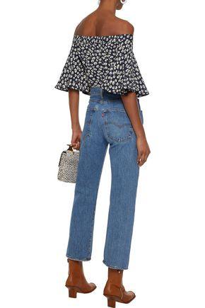 GANNI Roseburg off-the-shoulder printed crepe blouse