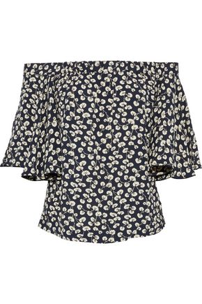 GANNI Roseburg off-the-shoulder printed crepe blouse