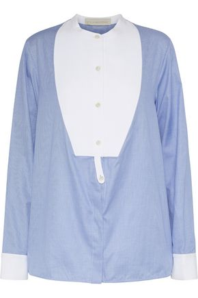 STELLA McCARTNEY Twill-paneled houndstooth cotton shirt