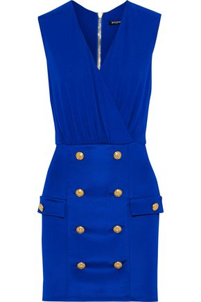 BALMAIN Wrap-effect button-embellished stretch-knit mini dress