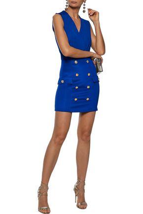 BALMAIN Wrap-effect button-embellished stretch-knit mini dress