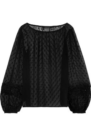 W118 by WALTER BAKER Embellished fil coupé chiffon top