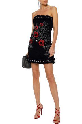 BALMAIN Strapless embellished tweed mini dress