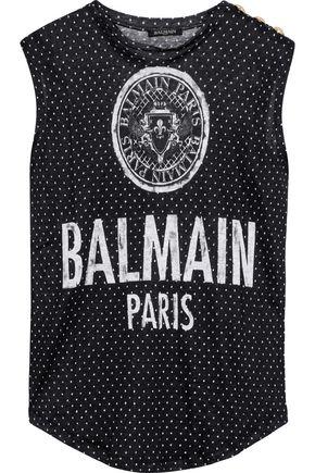 BALMAIN Printed linen-jersey tank
