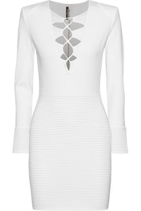BALMAIN Lace-up stretch-knit mini dress