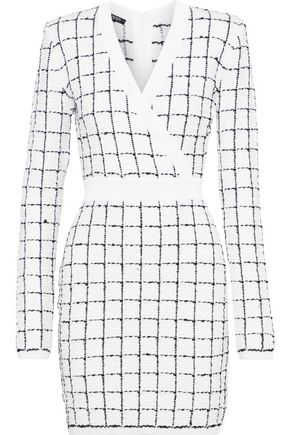 BALMAIN Wrap-effect checked bouclé-knit mini dress