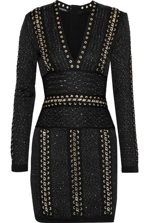 BALMAIN Chain-trimmed sequined stretch-knit mini dress