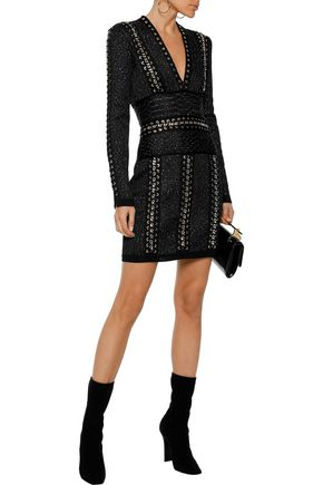 BALMAIN Chain-trimmed sequined stretch-knit mini dress