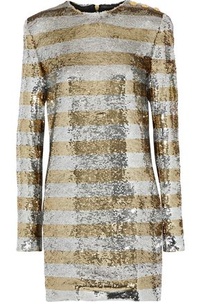 BALMAIN Striped sequined jersey mini dress