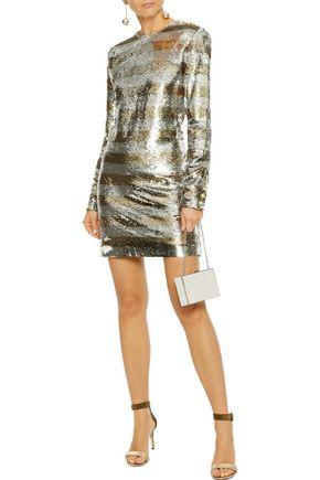 BALMAIN Striped sequined jersey mini dress