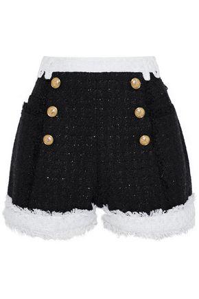 BALMAIN Button-embellished metallic tweed shorts