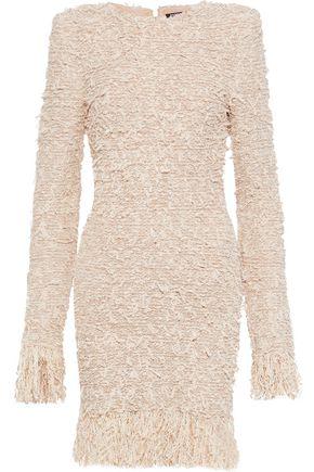 BALMAIN Fringed metallic bouclé-knit mini dress