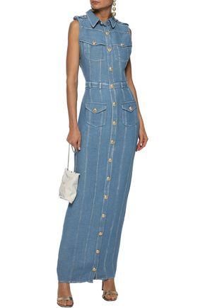 BALMAIN Button-detailed denim maxi shirt dress