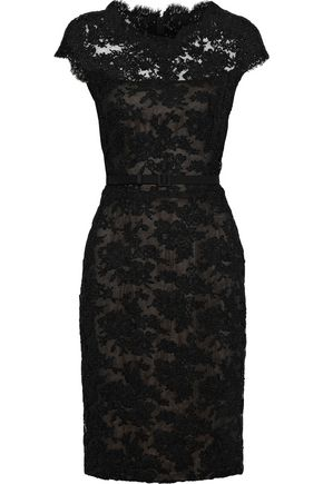 REEM ACRA Belted cotton-blend corded lace dress