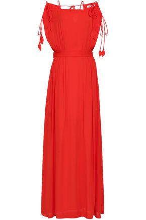 TORY BURCH Cold-shoulder crepe maxi dress