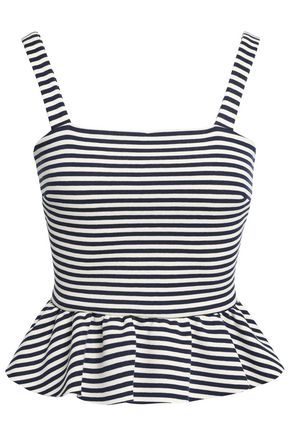 REDValentino Striped stretch-jersey top