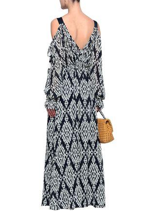 TORY BURCH Cold-shoulder printed georgette maxi dress