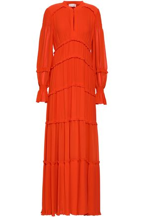 TORY BURCH Tiered pleated georgette maxi dress