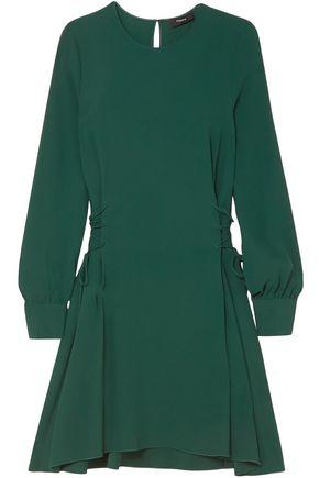 THEORY | Theory Lace-Up Satin-Crepe Mini Dress | Goxip