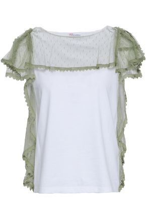 REDValentino Ruffled point d'esprit and cotton-jersey top