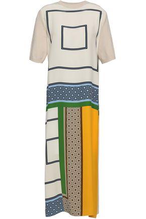 TORY BURCH Bouclé-paneled printed silk midi dress