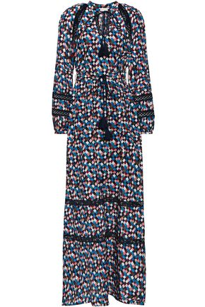 TORY BURCH Printed cotton and silk-blend maxi dress