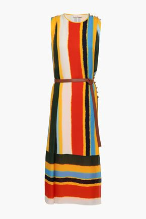 TORY BURCH Belted striped silk midi dress