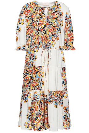 TORY BURCH Ruffle-trimmed printed silk midi dress