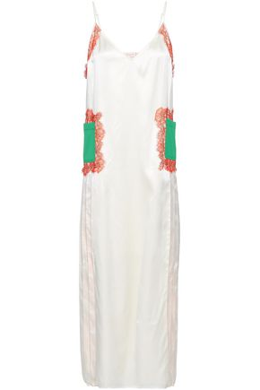 TORY BURCH Appliquéd lace-trimmed silk-satin midi dress